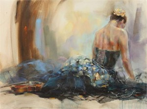 "Anna Razumovskaya Hand Signed and Numbered Limited Edition Artist Embellished Canvas Giclee: ""Resting Moment 2"""