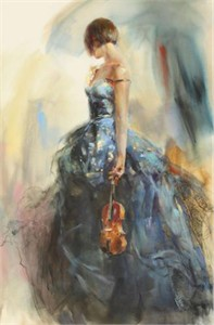 "Anna Razumovskaya Hand Signed and Numbered Limited Edition Artist Embellished Canvas Giclee: ""Solo"""