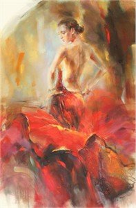"Anna Razumovskaya Hand Signed and Numbered Limited Edition Artist Embellished Canvas Giclee: ""Estampa"""