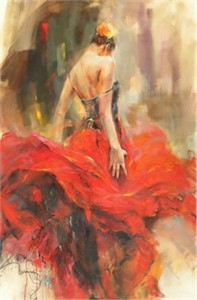 """Anna Razumovskaya Hand Signed and Numbered Limited Edition Artist Embellished Canvas Giclee: """"A Palo Seco"""""""