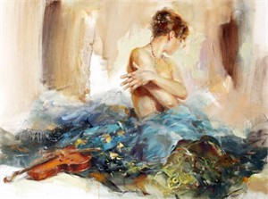 "Anna Razumovskaya Hand Signed and Numbered Limited Edition Artist Embellished Canvas Giclee: ""Prelude"""