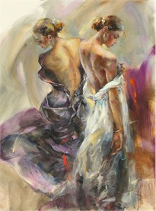 "Anna Razumovskaya Hand Signed and Numbered Limited Edition Artist Embellished Canvas Giclee: ""Purple Grace"""