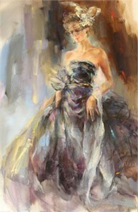 "Anna Razumovskaya Hand Signed and Numbered Limited Edition Artist Embellished Canvas Giclee: ""Sounds of Time"""