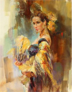 "Anna Razumovskaya Hand Signed and Numbered Limited Edition Artist Embellished Canvas Giclee: ""Yellow Rose"""