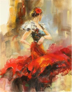 """Anna Razumovskaya Hand Signed and Numbered Limited Edition Artist Embellished Canvas Giclee: """"Rhapsody of Red 2"""""""