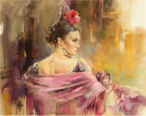 "Anna Razumovskaya Hand Signed and Numbered Limited Edition Artist Embellished Canvas Giclee: ""Evita"""