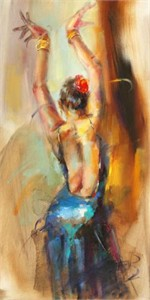 "Anna Razumovskaya Hand Signed and Numbered Limited Edition Artist Embellished Canvas Giclee: ""Blue Flamenco"""