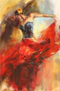 "Anna Razumovskaya Hand Signed and Numbered Limited Edition Artist Embellished Canvas Giclee: ""She Dances In Beauty 1"""