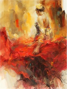 "Anna Razumovskaya Hand Signed and Numbered Limited Edition Artist Embellished Canvas Giclee: ""Alegria"""