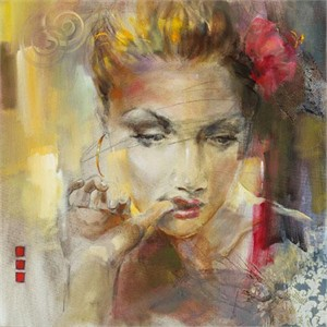 "Anna Razumovskaya Hand Signed and Numbered Limited Edition Artist Embellished Canvas Giclee: ""Gold Earring"""