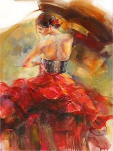 "Anna Razumovskaya Hand Signed and Numbered Limited Edition Artist Embellished Canvas Giclee: ""Red Passion 2"""