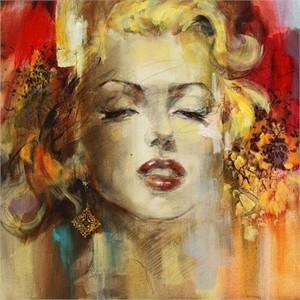 "Anna Razumovskaya Hand Signed and Numbered Limited Edition Artist Embellished Canvas Giclee: ""Nostalgic 2"""