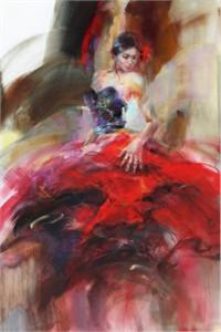 "Anna Razumovskaya Hand Signed and Numbered Limited Edition Artist Embellished Canvas Giclee: ""Scarlet Salsa"""