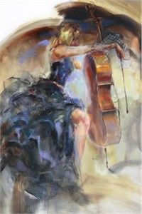 "Anna Razumovskaya Hand Signed and Numbered Limited Edition Artist Embellished Canvas Giclee: ""Intermission"""