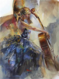 """Anna Razumovskaya Hand Signed and Numbered Limited Edition Artist Embellished Canvas Giclee: """"Tranquility"""""""