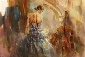 "Anna Razumovskaya Hand Signed and Numbered Limited Edition Artist Embellished Canvas Giclee: ""Concerto 3"""