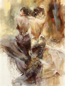 "Anna Razumovskaya Limited Edition Artist Embellished AP Canvas Giclee: ""Forgotten Town"""