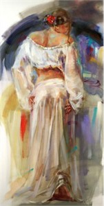 """Anna Razumovskaya Hand Signed and Numbered Limited Edition Artist Embellished Canvas Giclee: """"Red Flower"""""""