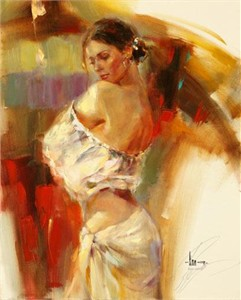 "Anna Razumovskaya Hand Signed and Numbered Limited Edition Artist Embellished Canvas Giclee: ""Limelight 3"""