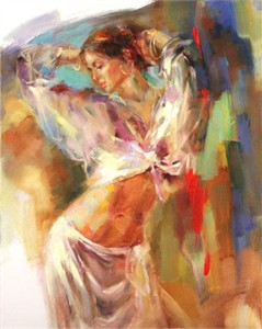 "Anna Razumovskaya Hand Signed and Numbered Limited Edition Artist Embellished Canvas Giclee: ""Dancing With the Sun"""