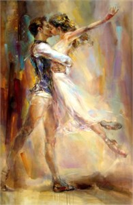 """Anna Razumovskaya Hand Signed and Numbered Limited Edition Artist Embellished Canvas Giclee: """"Love Story 2"""""""