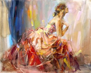 "Anna Razumovskaya Hand Signed and Numbered Limited Edition Artist Embellished Canvas Giclee: ""Praying For Love"""