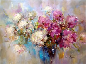 """Anna Razumovskaya Hand Signed and Numbered Limited Edition Artist Embellished Canvas Giclee: """"Hold This Moment 4"""""""