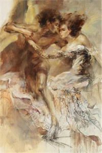 "Anna Razumovskaya Hand Signed and Numbered Limited Edition Artist Embellished Canvas Giclee: ""Eternal Legend 2"""