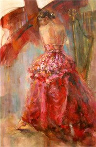 "Anna Razumovskaya Hand Signed and Numbered Limited Edition Artist Embellished Canvas Giclee: ""Red Sonata"""