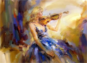 "Anna Razumovskaya Hand Signed and Numbered Limited Edition Artist Embellished Canvas Giclee: ""Wild Strings"""