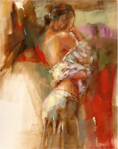 "Anna Razumovskaya Hand Signed and Numbered Limited Edition Artist Embellished Canvas Giclee: ""Limelight 1"""