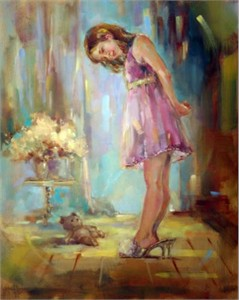 """Anna Razumovskaya Hand Signed and Numbered Limited Edition Artist Embellished Canvas Giclee: """"Well Fitted"""""""