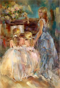 "Anna Razumovskaya Hand Signed and Numbered Limited Edition Artist Embellished Canvas Giclee: ""A Time To Remember"""