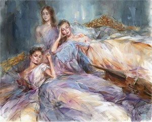 "Anna Razumovskaya Hand Signed and Numbered Limited Edition Artist Embellished Canvas Giclee:""Retrospection"""