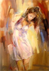 "Anna Razumovskaya Hand Signed and Numbered Limited Edition Artist Embellished Canvas Giclee: ""Morning Angel"""