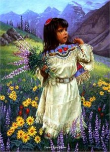 "Karen Noles Handsigned and Numbered Limited Edition Print: ""Song Child's Spring Bouquet"""