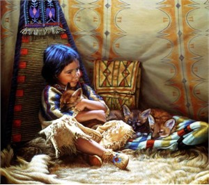 "Karen Noles Handsigned and Numbered Limited Edition Print: ""Teepee Tender"""