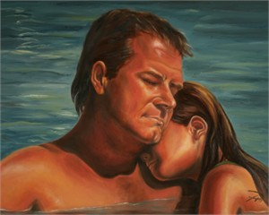 """Tanya Jean Peterson Handsigned and Numberd Giclee on Canvas:""""Fathers Embrace"""""""