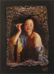 "George Tsui Handsigned and Numbered Limited Edition Chiarograph  on Paper :""Painting Eyebrow"""
