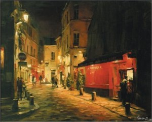 """Dimitri Danish Handsigned & Numbered Limited Edition Artist Proof Embellished Giclee on Canvas:""""Night at Montmartre"""""""