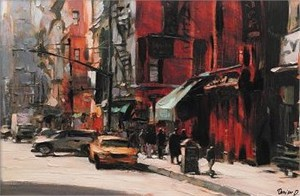 "Dimitri Danish Handsigned & Numbered Limited Edition Artist Proof Embellished Giclee on Canvas:""March in New York"""
