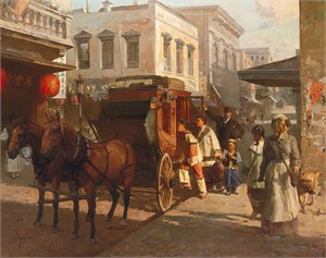 "Mian Situ Handsigned & Numbered Limited Edition Masterwork™ Giclée Canvas: ""Pacific Carriage Co., San Francisco, 1905"""