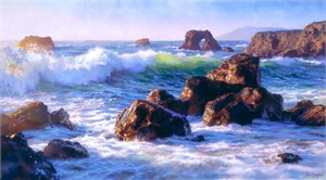 "June Carey Handsigned and Numbered Limited Edition MasterWork™ Giclée Canvas:""Sonoma Surf"""