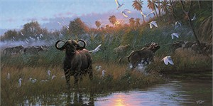 "Michael Sieve Handsigned & Numbered Limited Edition Giclee on Canvas:""Buffalo Dawn"""