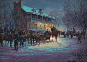 "Mort Kunstler Handsigned and Numbered  Limited Edition 2005 Snow  Print - Artists Proof: ""Brief Encounter"""