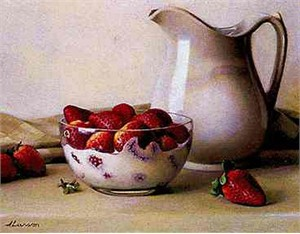 "Jeff Larson Canvas Edition Print: ""Strawberries and Cream"""