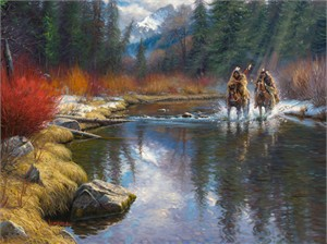 "Mark Keathley Handsigned and Numbered Limited Edition Embellished Canvas Giclee:""Spring Will Come"""