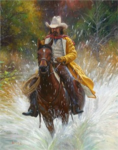 "Mark Keathley Handsigned and Numbered Limited Edition Embellished Canvas Giclee:""Slippery When Wet """
