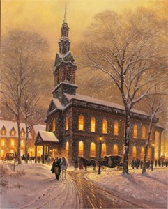 "Mark Keathley Hand Signed and Numbered Limited Edition Embellished Canvas Giclee:""Praying For America"""