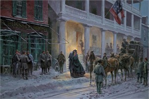 """Mort Künstler Handsigned and Numbered Limited Edition 2010 Snow Print:""""Mrs. Jackson Comes to Winchester"""""""